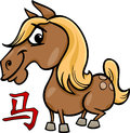 Horse chinese zodiac horoscope sign cartoon illustration of Royalty Free Stock Photos
