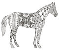 Horse chinese zodiac sign zentangle stylized, vector illustration