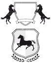 Horse coat of arms a pair illustrations with horses Royalty Free Stock Image