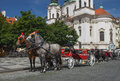 Horse-drawn carriage ready for tourists. (Prague, Czech Republic Royalty Free Stock Photo
