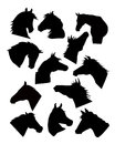 Horse face silhouette set vector is a illustration Royalty Free Stock Photo