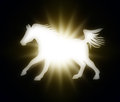 Horse with a flaming star on dark background an abstract image of galloping concept of power Stock Image