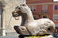 Horse fountain in taormina main square sicily italy Royalty Free Stock Photos