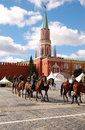 Horse guard training on red square in moscow Royalty Free Stock Photos