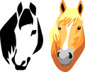 Horse head black and color illustrations Stock Images