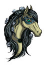 Horse head illustration of girl in carnival mask available in vector eps format Royalty Free Stock Photography