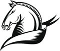 Horse head stylized in black and white graphic style Royalty Free Stock Images