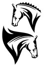 Horse head vector profile design black and white outline Royalty Free Stock Photos