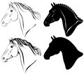 Horse heads set Stock Photography