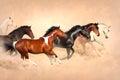 Horse herd in desert run gallop dust Stock Photo