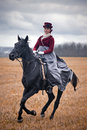 Horse hunting with ladies in riding habit costumes historical reconstruction of famous xixth century russian hounds by Stock Images