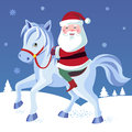 Horse illustration with santa claus on a vector Royalty Free Stock Image