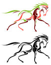 Horse isolated line art running image Royalty Free Stock Image