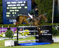 Horse jumping cian o connor from ireland in action during the csio th international competition on september in real club de polo Stock Photos