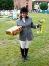 Horse jumping show, the winner Stock Photo