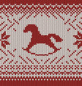 Horse knitted seamless background happy new year Royalty Free Stock Photo