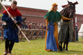 Horse and lance for a participant of jousting Royalty Free Stock Photo