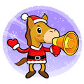 Horse mascot the left hand guides and right hand is holding a lo loudspeaker christmas character design series Stock Photos