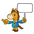 Horse mascot the left hand guides and the right hand is holding a picket new year character design series Royalty Free Stock Photography