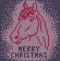 Horse merry christmas knitted background with image a Royalty Free Stock Photos