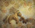 Horse mom with her foal composition beautiful vintage toys beautiful shades of brown texture materials beautiful elegant fabric Stock Photo