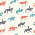 Horse pattern beautiful seamless vintage colored with equipment including boots helmet saddle and other equine stuff Stock Photos