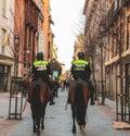Horse police power in Madrid, Spain