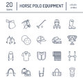 Horse polo flat line icons. Vector illustration of horses sport game, equestrian equipment - saddle, leather boots