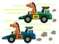 Horse on a race funny cartoon illustration of two having car Royalty Free Stock Image