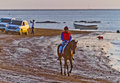 Horse race on Sanlucar of Barrameda, Spain, August  2011 Stock Photo
