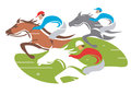 Horse racing illustration of at full speed vector illustration on white background Royalty Free Stock Images
