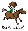 Horse racing illustration of a on a white background Royalty Free Stock Photography
