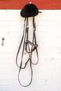 Horse reins and riders helmet hanging in stable Stock Images