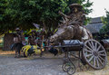 Horse and rider colima mexico december art work in front of a restaurant on the road to colima depicting a Stock Photo