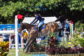 Horse Rider Jump Flight Water Royalty Free Stock Photo