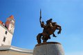 Horse Rider Knight at Bratislava castle against a Royalty Free Stock Photo