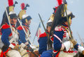 Horse riders reenactors dressed as napoleonic war soldiers ride horses at borodino historical reenactment battle at its th Stock Photo
