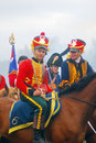 Horse riders reenactors dressed as napoleonic war soldiers ride horses at borodino historical reenactment battle at its th Stock Photos