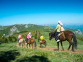 Horse riders traveling in the mountains Stock Photo