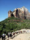Horse riders in Zion Canyon Royalty Free Stock Image