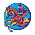 Horse riding, riding horse with jockey