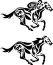 Horse running stylized black and white illustration Royalty Free Stock Image