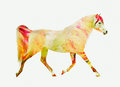 Horse running trot yellow red double exposure flowers Stock Images