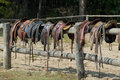 Horse saddles Stock Photo