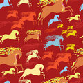 Horse seamless pattern with fast galloping horses with fiery manes Royalty Free Stock Images