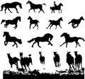Horse silhouettes set Royalty Free Stock Photo