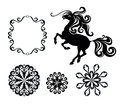 Horse and snowflakes the set with a for christmas decoration Royalty Free Stock Photo