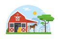 Horse Stables in Flat Design Royalty Free Stock Photo