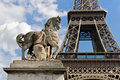 Horse statue and Eiffel Tower in Paris. Stock Image