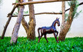 Horse statue miniature used for garden decor Stock Photo